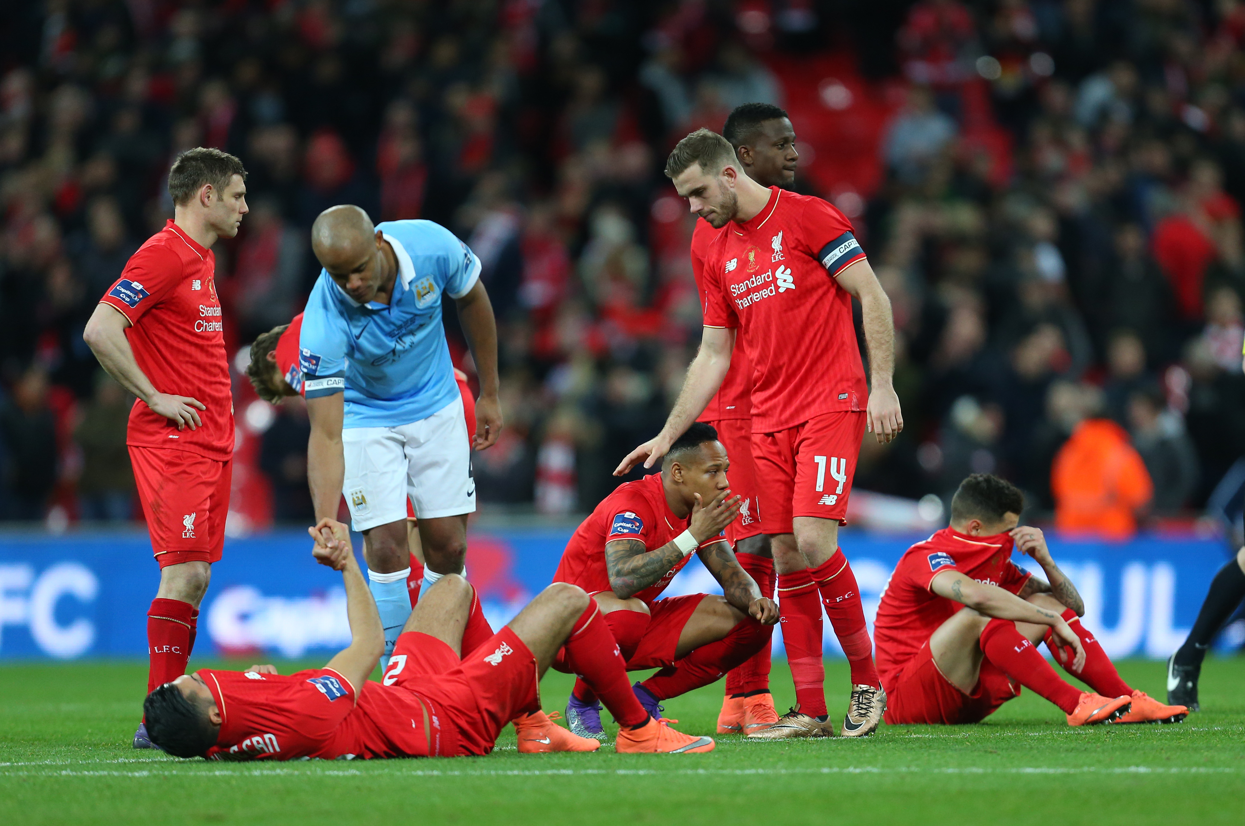 Image result for city vs liverpool penalty capital one cup